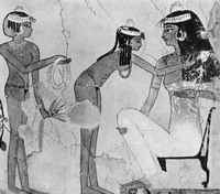 Знатная египтянка за туалетом (клеевая живопись, Египет)