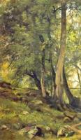Буковый лес в Швейцарии.Левый фрагмент.1863(64?)