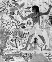 Охота фараона (клеевая живопись, Фивы)