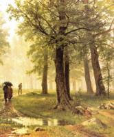 Дождь в дубовом лесу. Правый фрагмент.