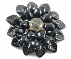 Черный цветок (подвеска, чешское стекло)