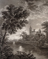Вид крепости города Павловска при лунном сиянии