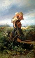 Дети, бегущие от грозы