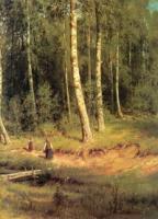 Ручей в березовом лесу. Правый фрагмент.