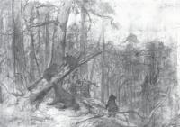 Утро в сосновом лесу.Эскиз картины 1889 года.
