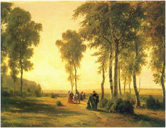 Пейзаж с гуляющими.