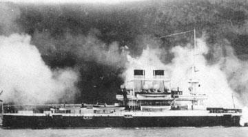 Эскадренный броненосец Чесма на стрельбах в районе Ялты (5 мая 1893 г.)