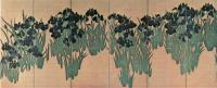 Огата Корин. Ирисы. Роспись ширм. Начало 18 в. Музей Нэдзу, Токио