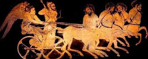 Геракл и Ника едут на колеснице, запряженной четырьмя кентаврами