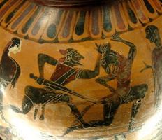 Сражение Тесея с Минотавром (ваза, сер. VI в. до н.э)