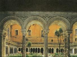 Внутренний двор с галереей в церкви Сан-Паоло фуори ле мура