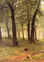 Дождь в дубовом лесу.Левый фрагмент.1891