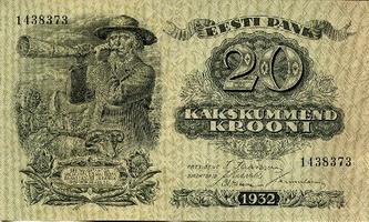 20 эстонских крон (эскиз Г.Г. Рейндорфа)