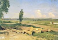 Бревна. Деревня Константиновка близ Красного села.Этюд. 1868(9)