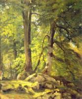Буковый лес в Швейцарии.Правый фрагмент.1863(64?)