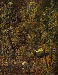 Лесной пейзаж и битва св. Георгия с драконом