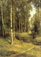 Ручей в березовом лесу.Левый фрагмент.1883