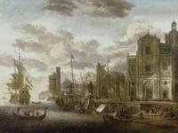 Средиземноморский пейзаж с архитектурным стаффажем (Я. ван Сторк)
