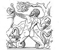 Гигант Гратион, сражающийся с Артемидой